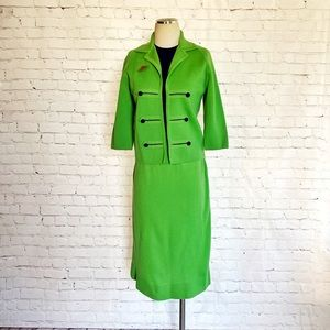 1960s Wool Skirt Suit Bright Green Jackie O Italy